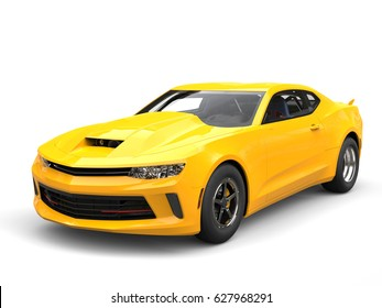 Bright sun yellow modern muscle car - beauty shot - 3D Illustration