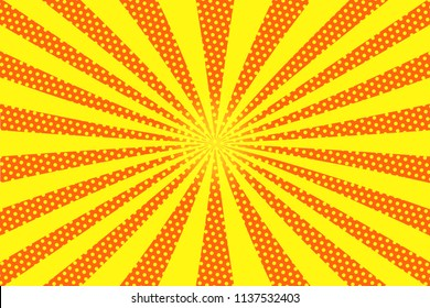 Bright sunbeams background with yellow dots.