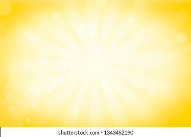 Bright sunbeams background with yellow dots. Abstract background with halftone dots design. illustration.