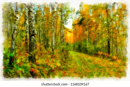 A bright sunny day in the autumn forest, watercolor. Digital painting