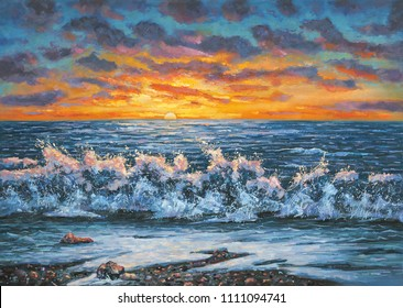 A bright sunset during a storm. An oil painting on canvas. Author: Nikolay Sivenkov.