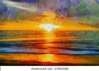 A bright sunset with waves on the sea in oil paints and palette knitting