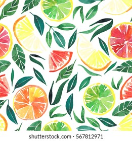 Bright tasty citrus pattern watercolor hand sketch