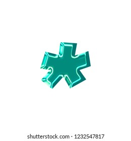 Bright teal plastic asterisk or star shape symbol in a 3D illustration with a shiny glass effect and glowing edge highlights in a blue green color and basic bold font on white with clipping path
