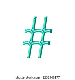 Bright teal plastic hashtag social media icon or pound sign symbol in a 3D illustration with a shiny glass effect and glowing edge highlights in a blue green color libertine font on white