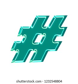 Bright teal plastic hashtag social media icon or pound sign symbol in a 3D illustration with a shiny glass effect & glowing edge highlights in a blue green color and basic bold font on white