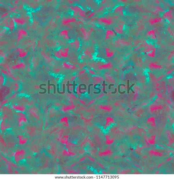 Bright tie-dye pattern. Repeating shibori print. Mystical abstract background. Watercolor spots, stains, drops. Seamless emerald violet pattern for fabric cloth design, wallpaper, wrapping.