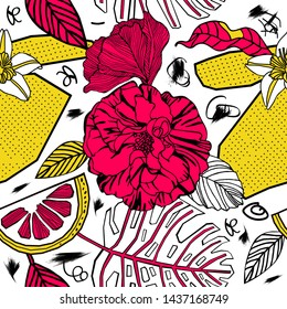 Bright tropical flowers and fruits, seamless pattern design.