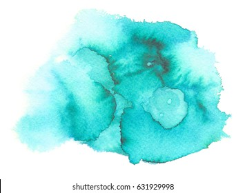 Bright turquoise blue stain backdrop painted in watercolor on clean white background