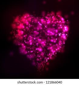 Bright valentine background with shine heart