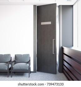 Bright waiting room and opened door with nameplate. 3d rendering