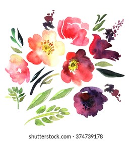 Bright watercolor abstract flowers. Original watercolor. Hand painting. Illustration for greeting cards, invitations, and other printing projects.