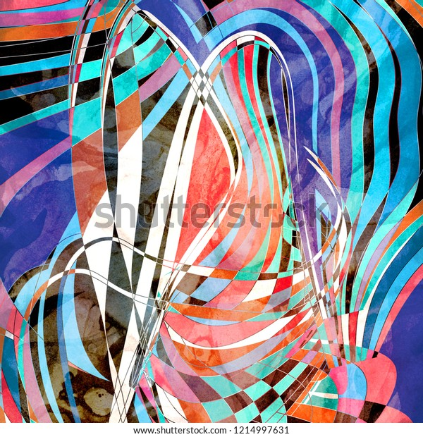 Bright watercolor abstract multicolored background with different lines and waves