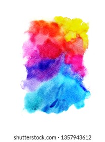 Bright watercolor background on white