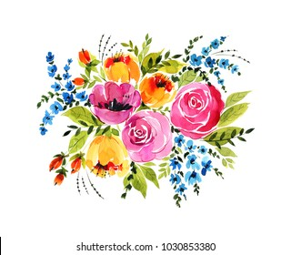 Bright watercolor bouquet. Beautiful flowers, leaves, buds and grass, painted with love.
