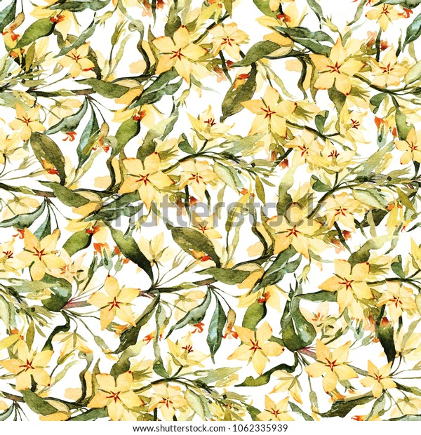 Bright watercolor branches with leaves and blooming flowers of yellow loosestrife. Summer botanical seamless pattern.