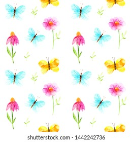 Bright watercolor butterflies yellow, blue and pink flowers. Seamless watercolor pattern for children's clothing or prints and print on packaging or bedding.