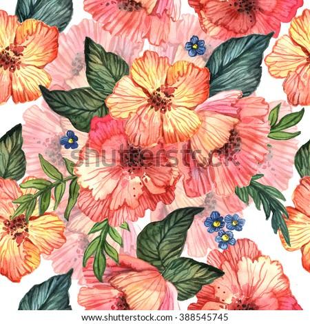 Bright Watercolor Decorative Pattern Flowers Handmade Stock