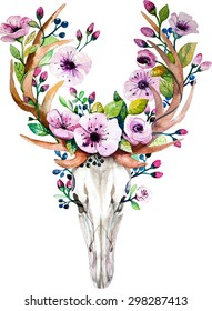 Bright watercolor  deer skull with flowers. Deers head with vintage floral elements. Wedding retro hipster design.