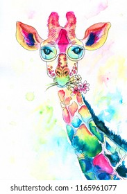 bright watercolor giraffe