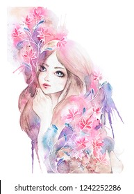 Bright watercolor girl portrait. Beautiful baby with pink flowers - luxurious painting of woman decorated with abstract pink flowers, vibrant colors with vivid pink, blue, purple. Isolated on white.