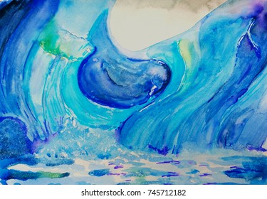 """bright watercolor illustration """"Ice of Greenland"""", hand painting in fresh blue tones"""