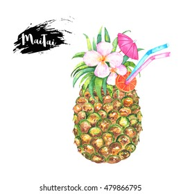 Bright watercolor illustration of Mai Tai cocktail in pineapple. Beautiful tropical drink. Isolated in white.