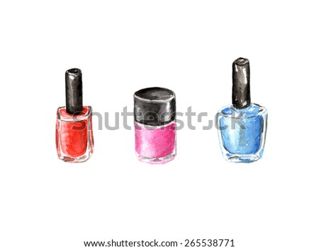 Bright Watercolor Illustration Nail Polish Set Stock Illustration