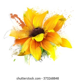 bright watercolor illustration of a sunflower, spray paint on a white background