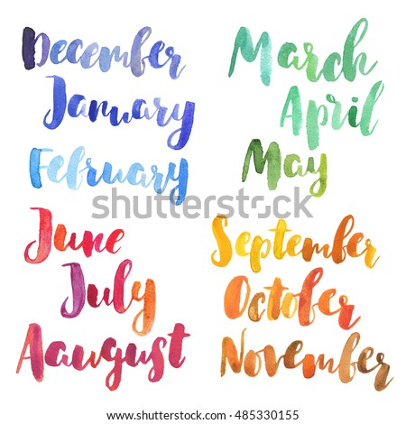 Bright Watercolor Months Year Nice Hand Stock Illustration 485330155