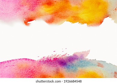 Bright watercolor paint yellow-pink-blue brush stroke. Abstract illustration on a white background. Banner for text, grunge element for decoration or book cover.
