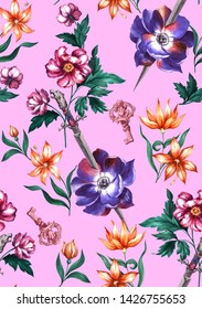 Bright watercolor trendy fashion pattern with the image of weapons an elven fairy sword, a dagger with a decorated tiger handle and beautiful pink and orange flowers.