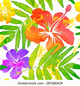Bright watercolor tropical flowers seamless pattern tile