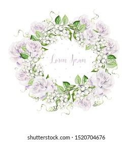 Bright watercolor wedding wreath with snowberry and  tender roses. Illustration