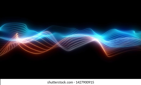 Bright wavy background. Glowing dots and lines. Neon light. Wave element for design. Smooth particle waves. Dynamic techno wallpaper.