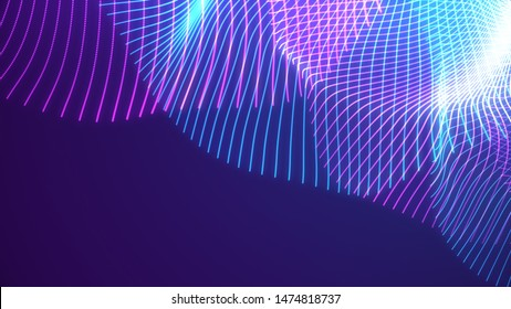 Bright wavy background. Glowing dots and lines. Neon light. Wave element for design. Smooth particle waves. Dynamic techno wallpaper.Violet and blue colors