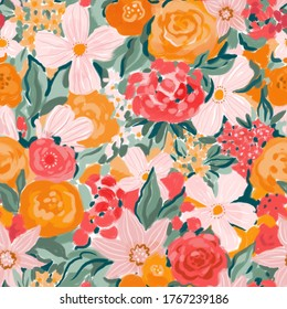 Bright wedding floral seamless pattern. Flower repeated texture for stylish fabric design or wrapping paper. Gouache hand painting background.