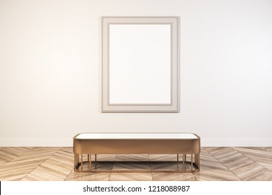 Bright white gallery interior with empty billboard and seat/bench. Museum and art concept. Mock up, Rendering