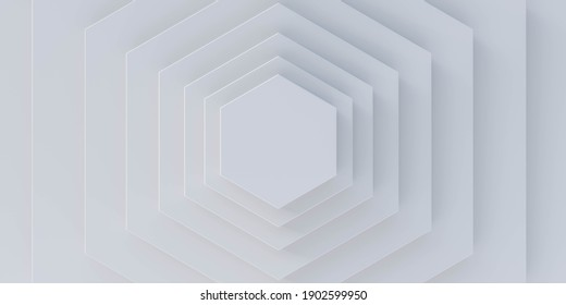 bright white marble hexagon tiles 3d render illustration