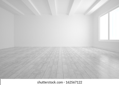 Bright white room with floorboards