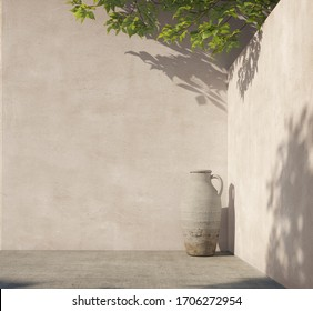 Bright white wall with green tropical leaves, sunlight with shadows and pitcher pot. Summer, spring background. 3d rendering.