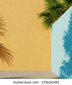 Bright yellow and blue painted walls with green tropical leaves, sunlight with shadows. Summer, spring background. 3d rendering.