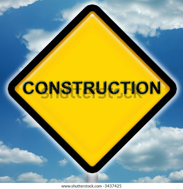 Bright yellow construction sign with blue sky background