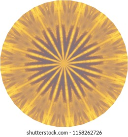 Bright yellow, gold and tan mandala with sunburst pattern. Decorative element, ethnic design, web design, anti-stress therapy, meditation.
