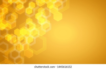 Bright yellow medical chemical background with hexagons. Medicine, chemistry and science concept. 3D Rendering