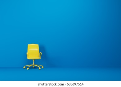Bright yellow office chair is standing in an empty blue room with a blue floor. Concept of minimalism. 3d rendering mock up
