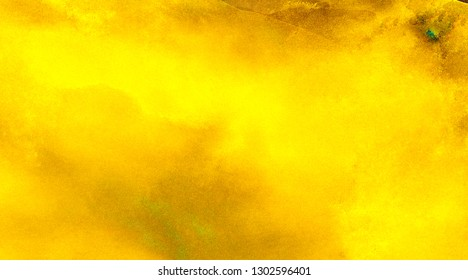 Bright yellow and orange lights neon watercolor background. Paper textured aquarelle canvas for modern creative design. Abstract hand drawn fire and flame texture, water color painted illustration