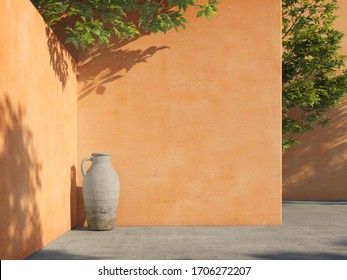 Bright yellow painted walls with green tropical leaves, sunlight with shadows. Summer, spring background. 3d rendering.