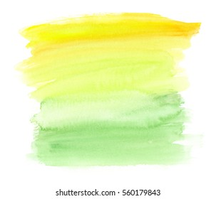 Bright yellow to pale green vertical gradient hand painted in watercolor on clean white background