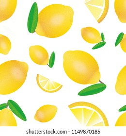 Bright, yellow, summer themed pattern of lemon illustrations with a grain texture, isolated on white background.